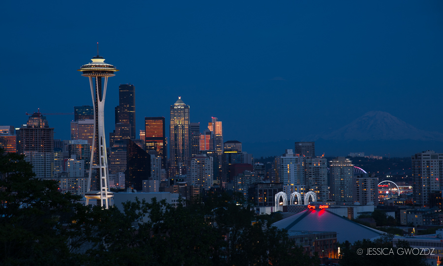 Seattle Skyline photographed by Jessica Gwozdz