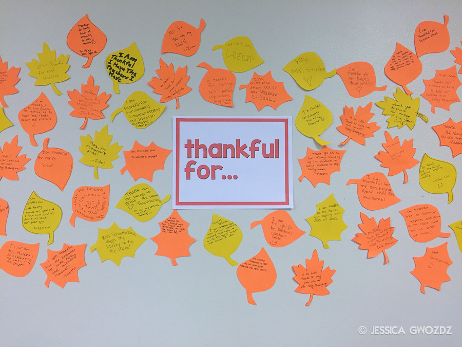 Middle School Thankfulness, by Jessica Gwozdz